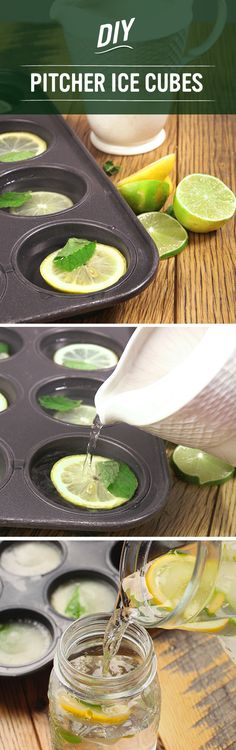 Make these DIY Pitcher Ice Cubes for summer! Just add water, slices of lemon and limes, and herbs to a muffin tin and freeze! Pop them out and serve them in pitchers to keep your water ice cold and refreshing!