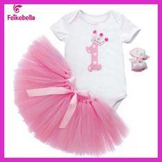 Newborn Baby Birthday Dresses 2016 Baby Christmas Outfit Bodysuit + Skirt + Headband Toddler Girls Clothing vestido de bautizo