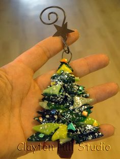 Christmas Tree Ornament Fused Glass by chneos on Etsy, $15.00