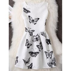 Butterfly Print Sleeveless Mini Dress - WHITE M