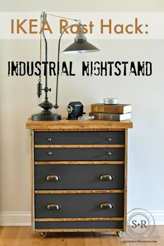 Industrial Nightstand made from the Ikea Rast dresser - add flat screen molding,a poplar top, metal casters, cup pulls, knobs, and decorative nail heads. Painted with Pittsburgh Paints Trim Door & Furniture Paint in Charcoal Gray, wood stained with MinWax Early American