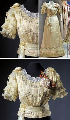 Summer dress ca. 1900–05. Pale yellow silk in stylized thistle pattern. Two pieces. Pleated, boned bodice with lace-embroidered tulle neckline, short sleeves with pleated chiffon ruffles, and lacing inn back. Slightly flared skirt with small train lined with ruffled, pleated chiffon. Museum of Costume & Lace, Brussels, Facebook