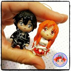 Polymer clay chibi Asuna, Kirito and Yui charms, inspired by SAO anime series The Effective Pictures We Offer You About Polymer Clay Crafts miniature dollhouse A quality picture can tell you many thin Kirito, Yui, Sao Anime, Kawaii Chibi, Polymer Clay Charms, More Cute, Clay Creations, Sword Art Online, Clay Crafts