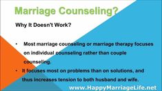 Does Marriage Counseling Work? - WATCH VIDEO HERE -> bestdivorce.solut... SAVE YOUR MARRIAGE STARTING TODAY ► Save Marriage Alone ► Save marriage for couple ► All the best products Save Marriage and Stop Divorce ♥ Does marriage counseling work? Based on the expert report, marriage counseling does more harm than good. The possibility of divorce is... http://marriagessaving.blogspot.com