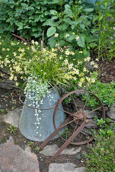 Vintage elements in the flower garden