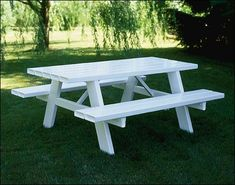 Vinyl Picnic Table from DutchCrafters measures long and comes in white. An easy outdoor picnic table for fun family times. Painted Picnic Tables, Outdoor Picnic Tables, Folding Picnic Table, Patio Tables, Outdoor Lounge, Picnic Essentials, Cooking On A Budget, Home Interior Design, Just In Case