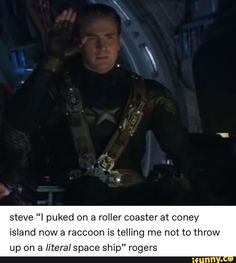 """Picture memes — iFunny steve """"I puked on a roller coaster at coney island nowa raccoon is telling me not to throw up on a literal space ship"""" rogers – popular memes on the site iFu Funny Marvel Memes, Dc Memes, Avengers Memes, Marvel Jokes, The Avengers, Marvel Avengers, Marvel Comics, Thanos Marvel, Kermit"""