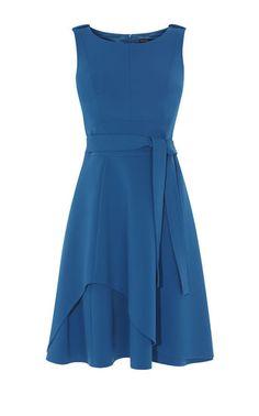 Karen Millen, ASYMMETRIC FLARED DRESS Blue