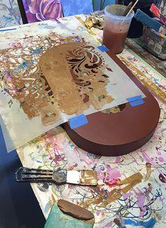 Adding Texture, Pattern and Patina to Letters   Patinated & Patterned Letters Tutorial by Ali Kay on the Modern Masters Cafe Blog
