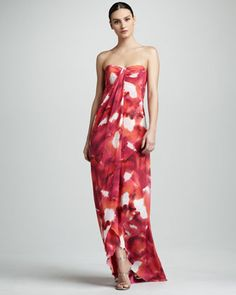 Watercolor-Print Georgette Gown by Nicole Miller at Neiman Marcus.