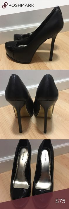 Bebe Makaela Black Leather High Heel Pumps These Bebe Pumps are all leather with leather lining and leather outsole.  They look a lot like the YSL Tribute Pumps.   They have been worn indoors for just a few hours.  Like new condition. bebe Shoes Heels