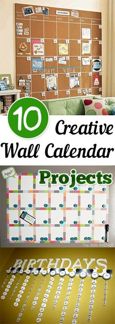 10 Creative Wall Calendar Projects ..... #7 and 9 are my favorites