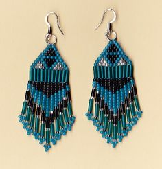 earrings | American Indian Blue and Black Dangle Earrings | NativeWorksJewelry ...