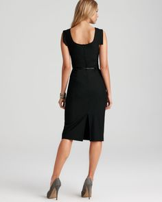 Black Halo Dress - Jackie O Belted Sheath in Stretch Gabardine