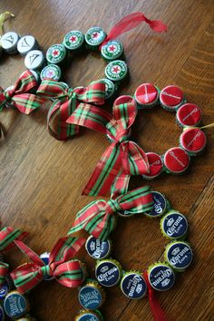 """Upcycled Beer Bottle Cap Christmas Ornament...you know this looks like one of those things that could catch on like wildfire and the next thing you know, 20 years from now they are asking, """"WHAT were they thinking!!"""" :-)"""