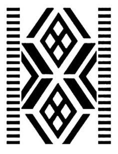 Diseño mapuche. El dibujo interior es del cosmos. Las líneas oblicuas y paralelas del tejido casi siempre centran otro dibujo. Gentileza Fundación Chol Chol, Chile. - Guardas aborígenes
