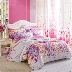 Purple White Yellow and Blue Lilac Floral Print Full, Queen Size Durable Toile Bedding Sets for Girls - EnjoyBedding.com