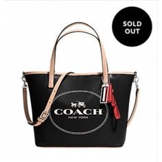 """2xHPNWT Coach Metro Horse & Carriage Sm. Tote. 2xHOST PICK 5/17 for the Bold & Beautiful Party & again 5/3 for the Street Style Party!   NWT Coach Metro Horse & Carriage Small Tote. Black/Silver. Leather. Inside zip, cell phone & multifunction pockets. Dog leash clip closure. Handles with 6"""" drop. Detachable strap for shoulder or cross body wear. 13 3/4"""" (L) x 8 3/4 (H x 4 1/4"""" (W) No Trades & No PayPal Price Firm. Not eligible for discounts. Coach Bags Totes"""