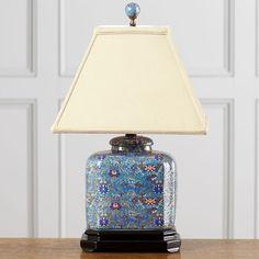 Elegant, classic cloisonné-style table lamp.