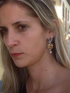 Brinco Prata 950  Pedras Brasileiras Vera Fraga acessoriosflordeseda@hotmail.com