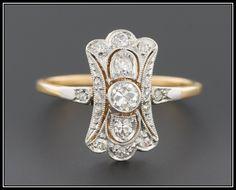 Antique Edwardian 18k Gold & Diamond Filigree Ring