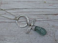 Ancient Roman glass and hand forged sterling silver $65. by JoDeneMoneuseJewelry