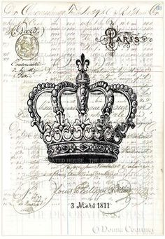 The Decorated House art. Crown with antique French Writing on Antique Ledger Page.