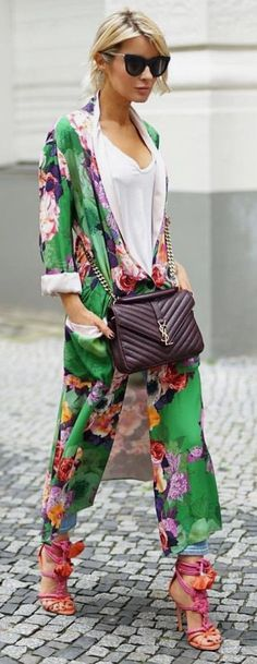 Floral duster coat with flowers