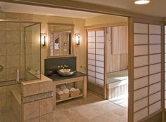 Bathroom, Modern Bathroom Design And Decor Double Vanity Bathroom Sinks Japanese Bathroom With Serene Shoji Screens: Eye-Catching Japanese Bathroom Design Small Space