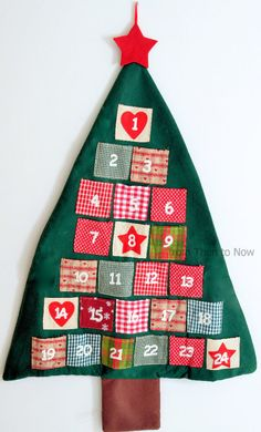 From the renowned design house of Heaven Sends, it makes a fabulous chic & shabby Christmas decoration as well as an unusual advent calendar. Consisting of numbered fabric pockets on a green felt shaped xmas tree, the calendar measures approx 93cm x 60cm. | eBay!