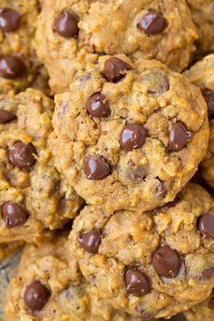 Pumpkin Oat Chocolate Chip Cookies