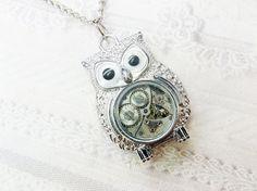 Silver Owl Necklace  Steampunk Owl Necklace  Jewelry by birdzNbeez, $26.00