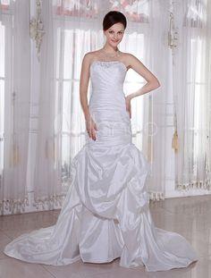 Ivory Strapless Sweep Train Mermaid Trumpet Taffeta Wedding Dress - Milanoo.com