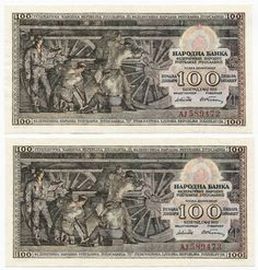 2 X 100 DINARA 1953 (LOKOMOTIVE) ``SERIENPAAR´´ Jugoslawien Banknote, Coins, Locomotive, Rooms