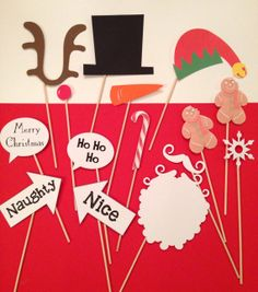 Christmas Photo Booth Props- Christmas photos, photo props on a stick, Santa Claus, snowman,  reindeer, gingerbread man