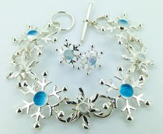 Snowflake necklace sterling silver and moonstones marycolyer.com