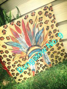 Headdress; Indian; tribal; canvas; leopard; custom painted
