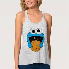 (Cookie Face Flowy Racerback Tank Top) #Cute #Emoji #EmojiIcons #Fun #Icons #MobileIcon #Monster #SesameStreet is available on Famous Characters Store   http://ift.tt/2bkisyM