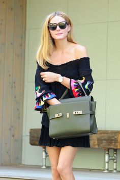 Olivia Palermo Off-the-Shoulder Dress Street Style