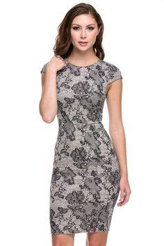 Trim and Proper Lace Print Midi Dress - Taupe + Black