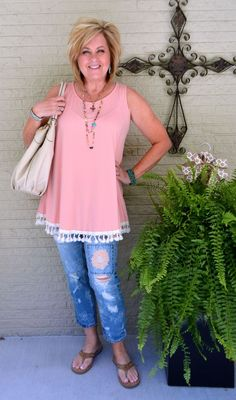 50 IS NOT OLD | SWING TOP AND TASSELS | Peach | tassels | Summer outfit | Embroidered Jeans | Fashion over 40 for the everyday woman
