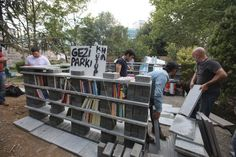 demonstrators of Taksim Gezi Park protest  build a little library for students who staying at park day and night