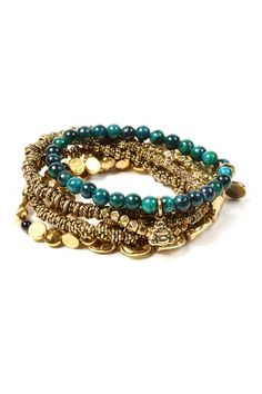 Antique gold and charm stacks.