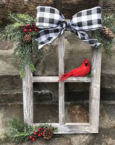 Window Decorations for Christmas : Farmhouse Christmas Decor Christmas Decorated Window Pane Winter Window Pane Decor Christmas Window Frame Rustic Wooden Window PaneHandcrafted, heavy barnwood four pane window frame piece is dressed for the holidays Noel Christmas, Winter Christmas, Reindeer Christmas, Christmas Cookies, Christmas Windows, Christmas Music, Christmas 2019, Cardinal Christmas Decor, Elegant Christmas