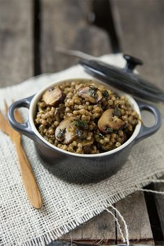 Creamy Pesto and Mushrooms with Whole Wheat Israeli Couscous January Featured Recipe via @Shaina Olmanson | Food for My Family