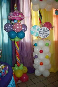 Candy & Cupcakes Birthday Party Ideas Photo 16 of Candy & Cupcakes / Birthday Cupcake Party, Birthday Cupcakes, Birthday Fun, 1st Birthday Parties, Birthday Balloons, Birthday Ideas, Balloon Decorations, Birthday Decorations, Balloon Ideas