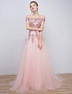a-linie+off-the-umăr+lungime+tul+de+rochie+de+seară+formal+cu+beading+–+EUR+€+201.31