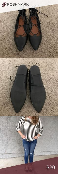 Lace up flats Black. Comfy. Cute. Old Navy Shoes Flats & Loafers