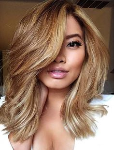Honey Blonde Lob with Long Side Bangs