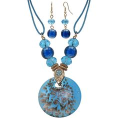 Mixit™ Brown and Teal Murano Glass Earring and Pendant Necklace Set ($8.99) ❤ liked on Polyvore featuring jewelry, teal jewelry, bead jewellery, beaded pendant necklace, murano glass pendant necklace and long pendant necklace